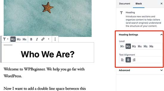 Adding headings to your articles in WordPress content editor