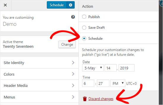 Plan Customizer-instellingen op een specifieke datum