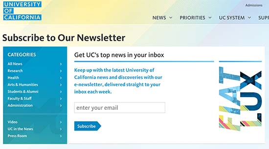 University of California newsletter signup form