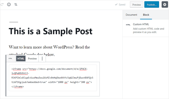 Google Doc Embed Code Added in WordPress Post