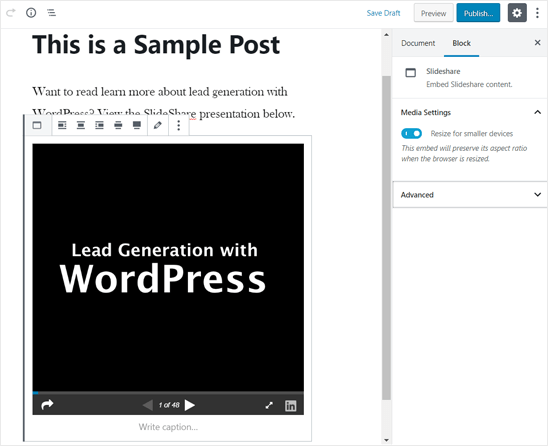 Презентация SlideShare добавлена в редакторе WordPress