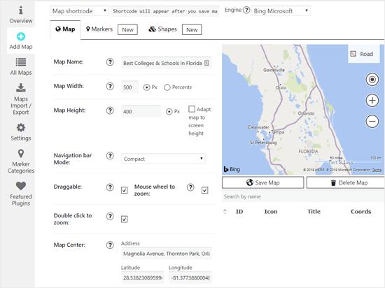 Добавить карту Bing с помощью плагина