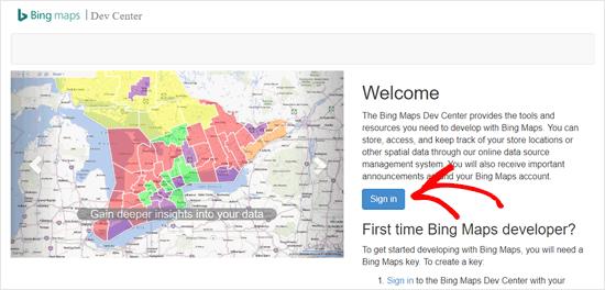 Войдите в Bing Dev Center