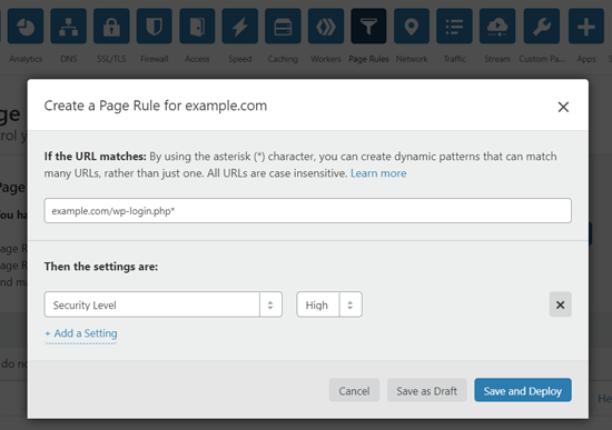 Create a Page Rule to Secure WordPress Login Page on Cloudflare