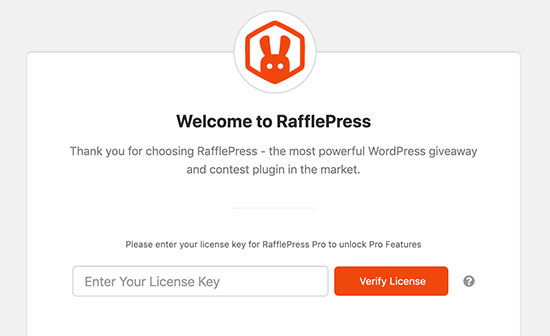 Add RafflePress license key