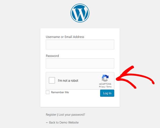 Halaman Login WordPress Dengan Google reCAPTCHA