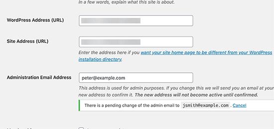 Verify site admin email address
