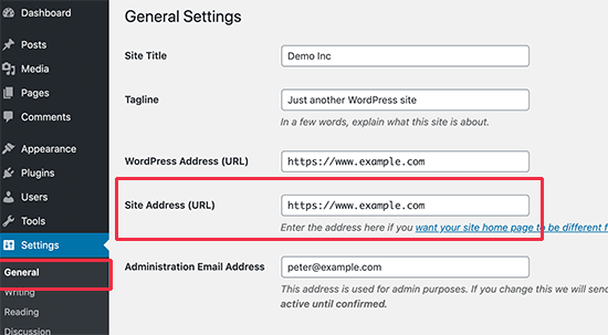 Copy your site address from WordPress settings page