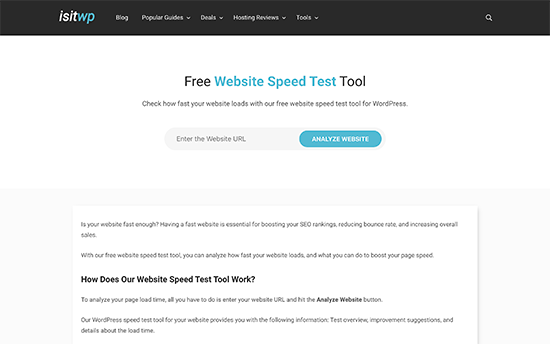 IsItWP Website Speed Test Tool