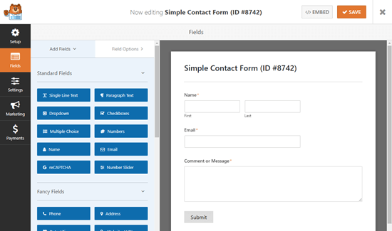The default simple contact form, showing fields for Name, Email, and Message