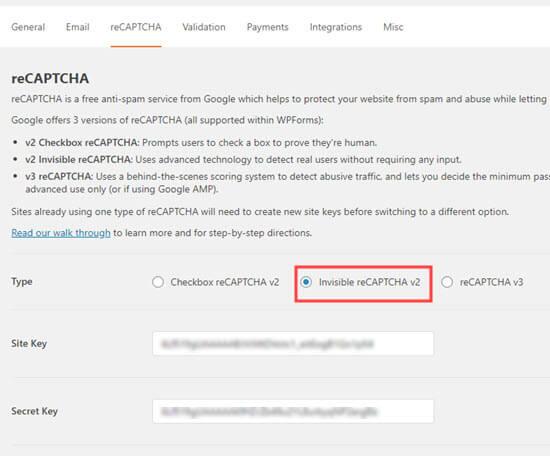 Memilih opsi reCAPTCHA yang tidak terlihat di WPForms