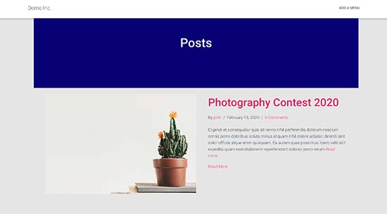 Blog page template
