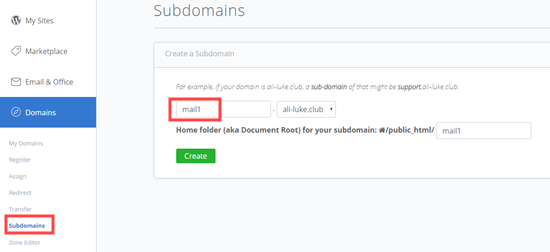 Adding a subdomain in WordPress