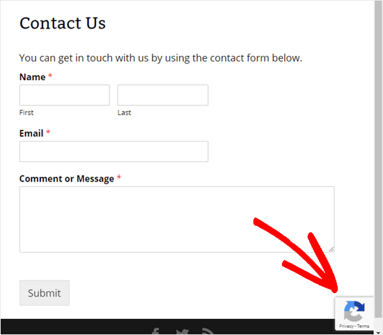 Contact form with the invisible reCAPTCHA active