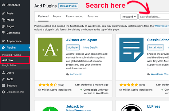 Searching for plugins to install in WordPress admin area