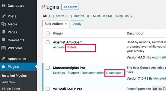 Uninstall a WordPress plugin