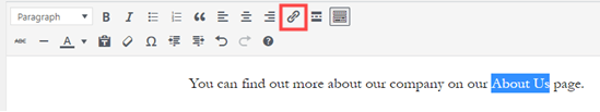 Creating a link using the WordPress classic editor