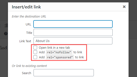 Additional options created by the Title and Nofollow for Links WordPress plugin