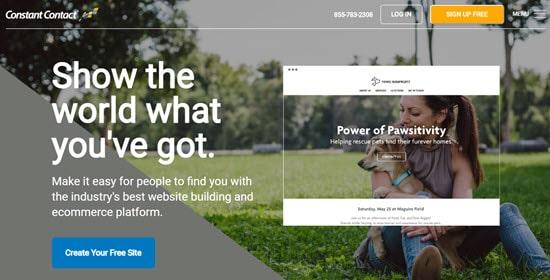 The Constant Contact website builder