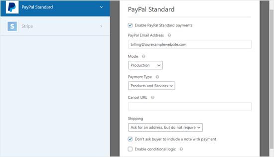 Halaman pengaturan pembayaran PayPal untuk formulir Anda