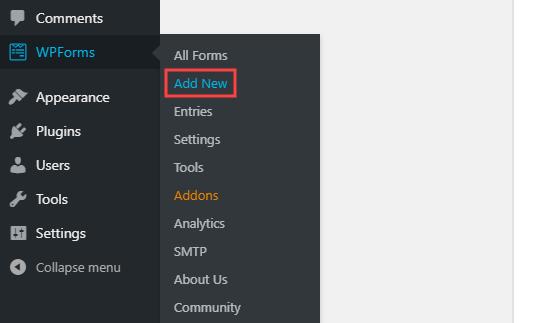Creating a new form using WPForms