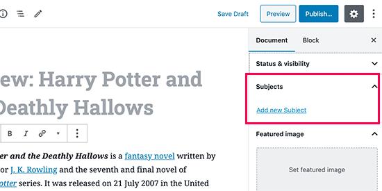 Using taxonomy in post editor