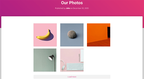 Preview of a single Facebook album embed in WordPress