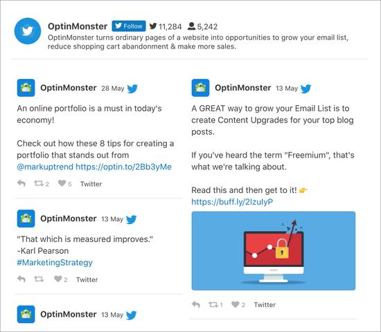 OptinMonster Twitter feed