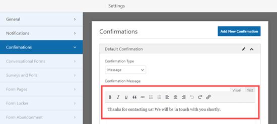 LCV formunuz için onay mesajını düzenleme