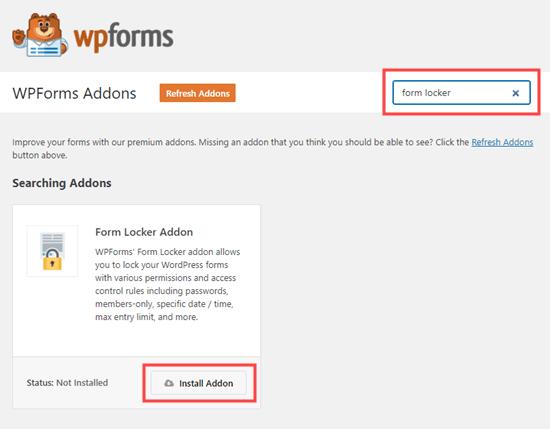 Menginstal addon Form Locker untuk WPForms