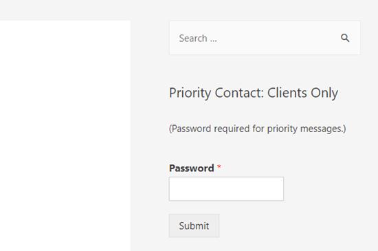 Formulir yang dilindungi kata sandi di sidebar situs WordPress