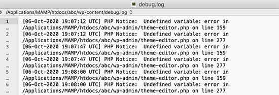 Debug log file showing PHP errors in WordPress