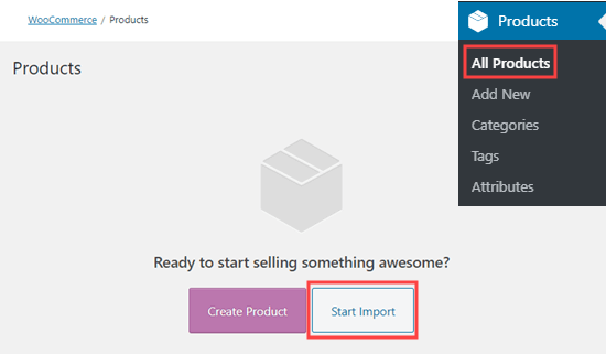 Click the 'Start Import' button to import sample data into WooCommerce