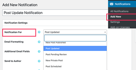 Creating a post change notification