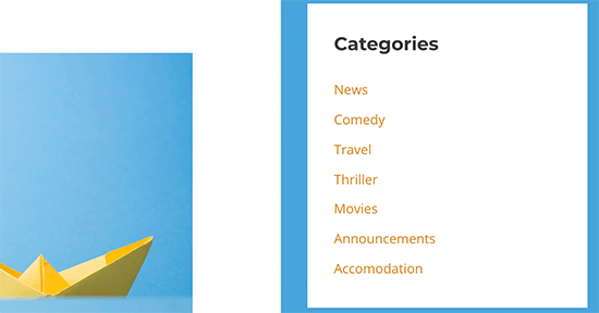 Reordered categories list