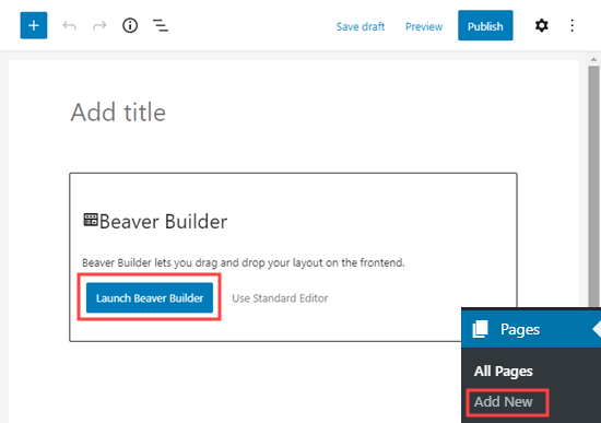 Launch the Beaver Builder editor when creating a new page
