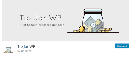 The Tip Jar WP plugin on the WordPress website