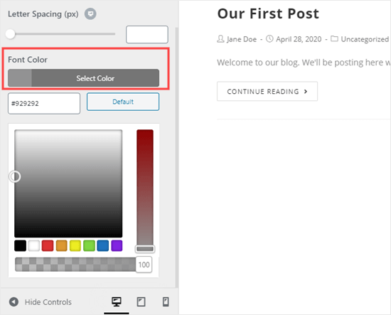 Picking the color for your body text using the theme customizer