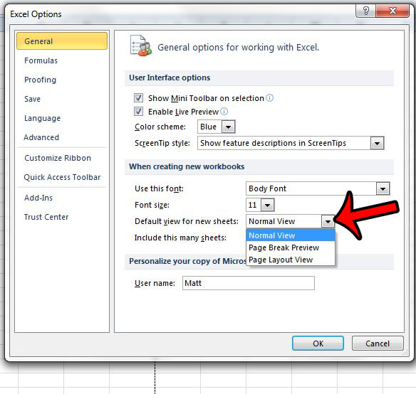 How To Make Page Layout The Default View In Excel 2010