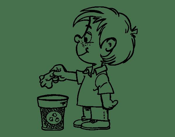 Disegno Di Bambino Riciclaggio Carta Da Colorare Acolorecom