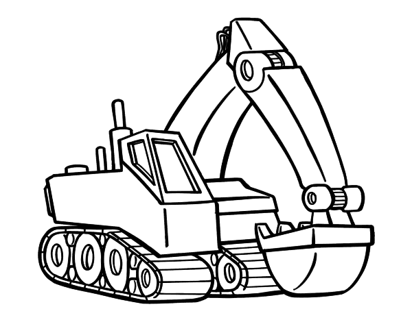 coloring pages of an excavator