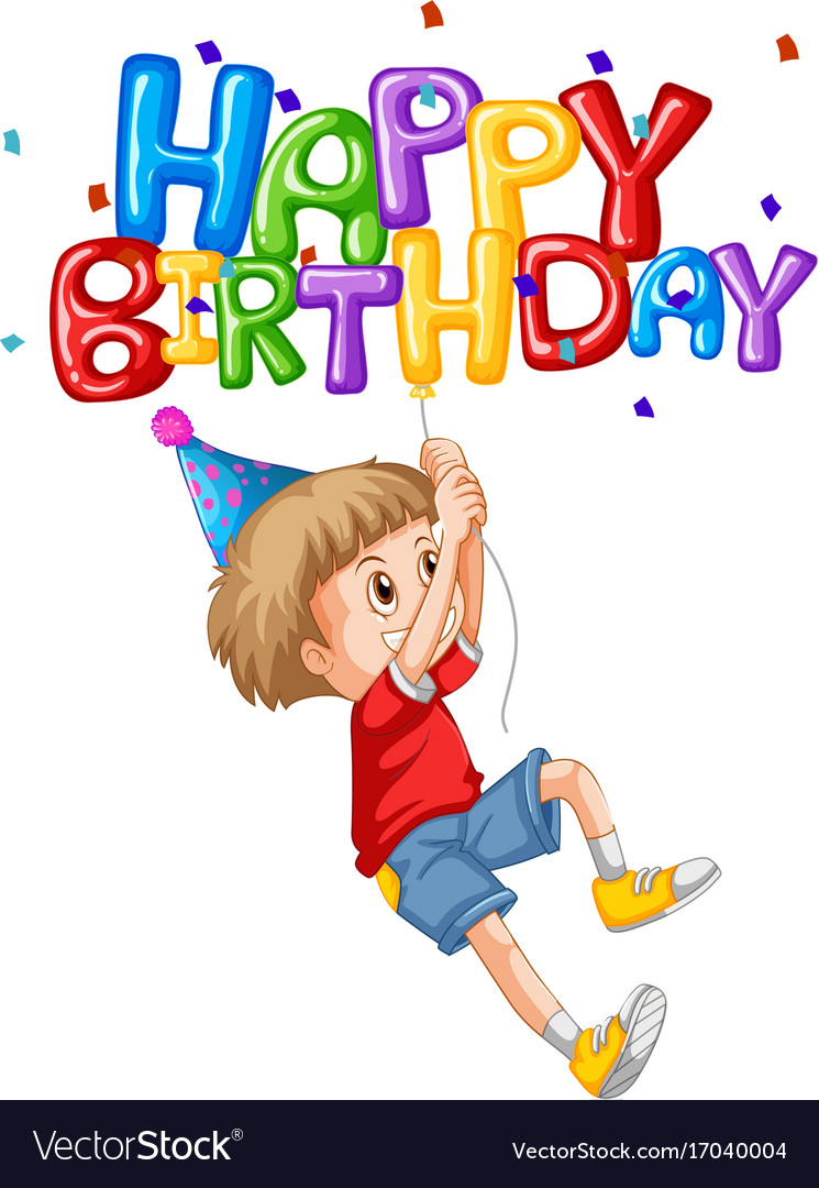 Little Boy And Happy Birthday Balloon Royalty Free Vector