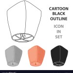 Sky Lantern Icon In Cartoon Style Isolated On Vector Image