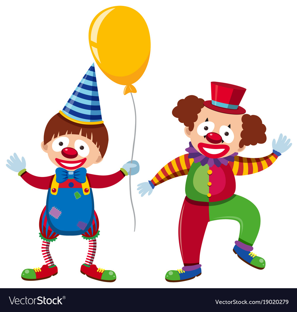 Two Happy Clowns With Yellow Balloon Royalty Free Vector