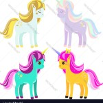 Cute Unicorns Fairy Pony Magic Horses For Kids Vector Image