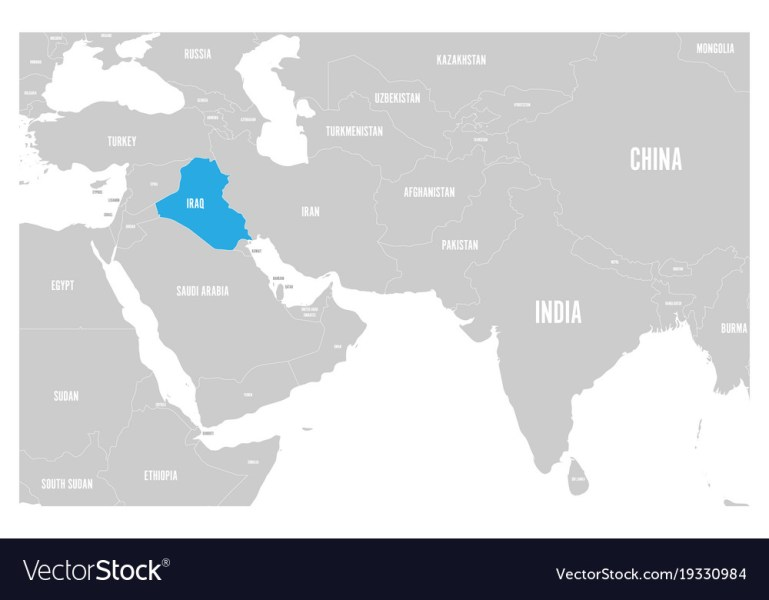Iraq blue marked in political map of south asia Vector Image