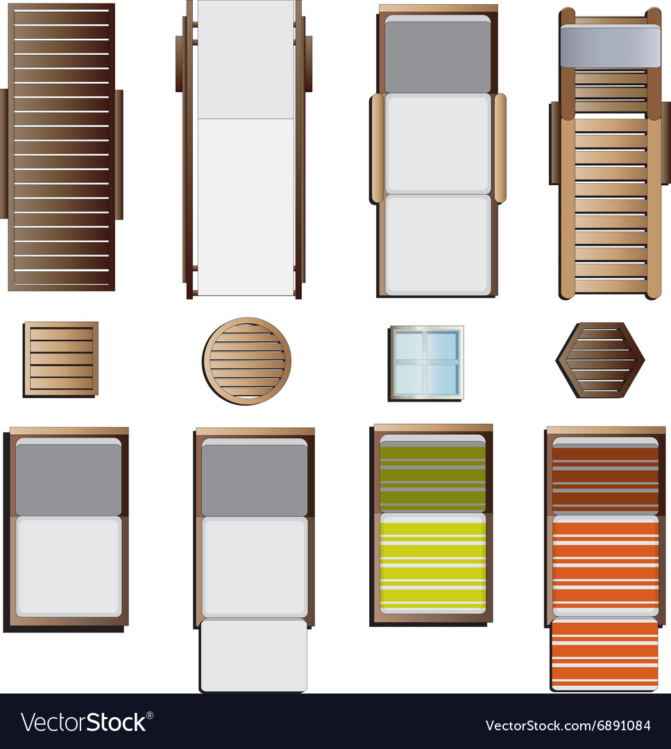 Outdoor Furniture Sunbeds Set Top View Set 8 Vector Image