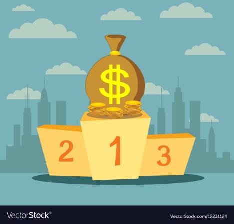 Trophy wealth prize money on sport winner podium Vector Image