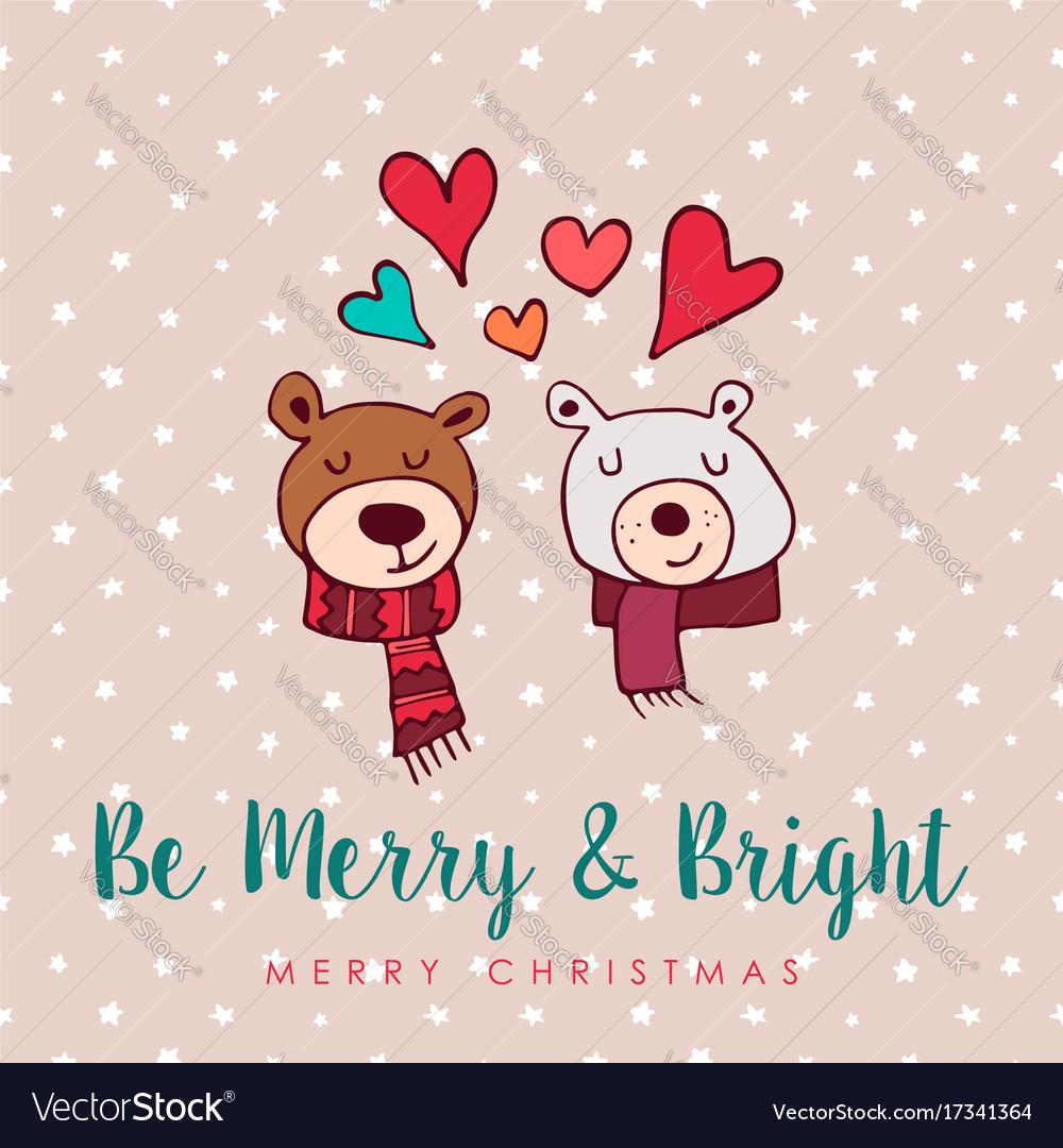 Download Christmas cute holiday love bears cartoon card Vector Image