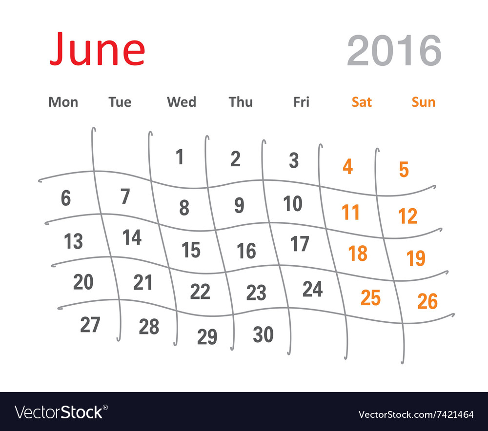 June 2016 Calendar Funny Grid Royalty Free Vector Image